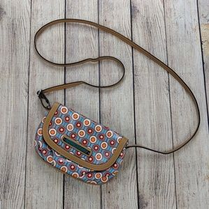 Lily Bloom cross body purse with three pockets.